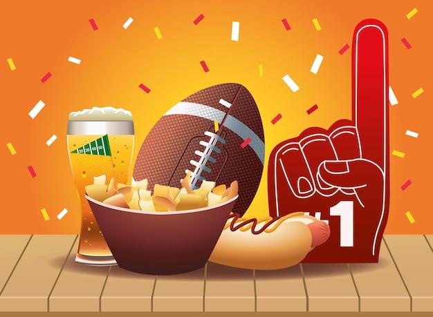 Super Bowl Ikony Sportu Futbolu Amerykańskiego I Ilustracja Fast Food Premium Wektorów