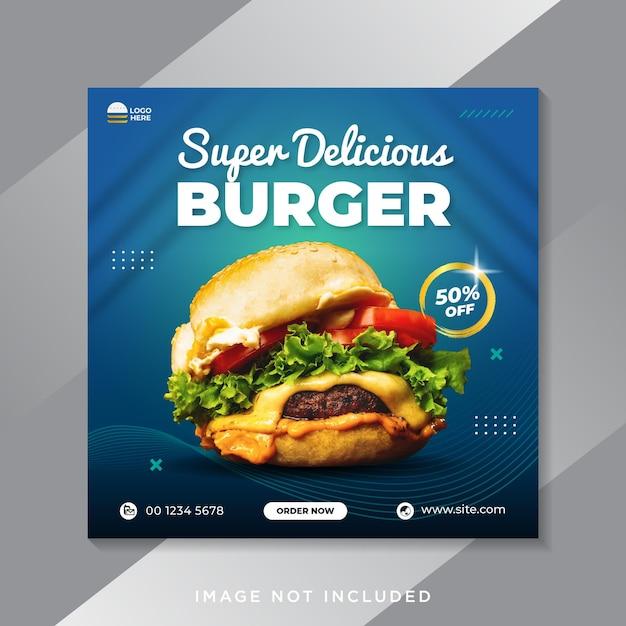 Super Pyszny Szablon Banera Społecznościowego Promocji Burgera Premium Wektorów