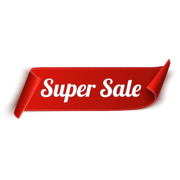 Super Sprzedaż Czerwoną Wstążką Banner Premium Wektorów