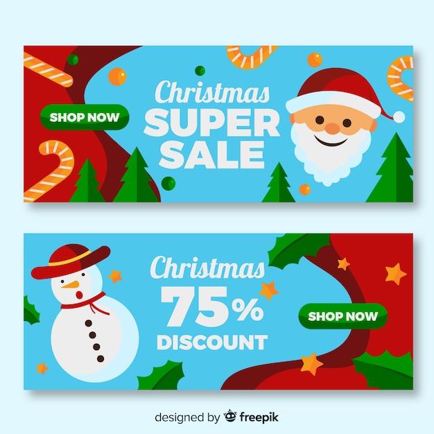 Super sprzedaż płaska konstrukcja banery świąteczne Darmowych Wektorów