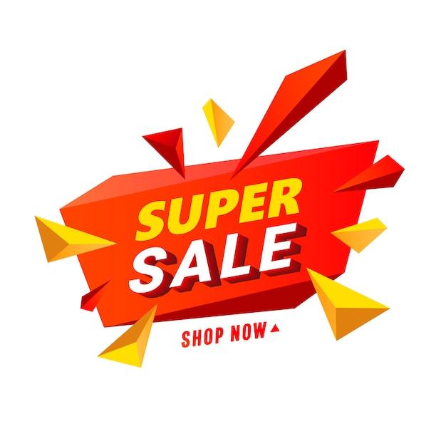 Super sprzedaż transparent z wielokolorowymi wielokątnymi elementami w kształcie gwiazdy. Premium Wektorów