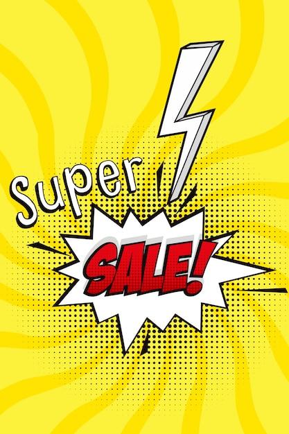 Super sprzedaż wektor z komiksem mowy bąbelkowego w stylu pop-artu Darmowych Wektorów
