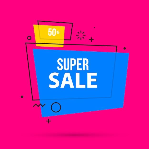 Super Szablon Transparent Sprzedaż W Kolorowym Stylu Memphis Premium Wektorów