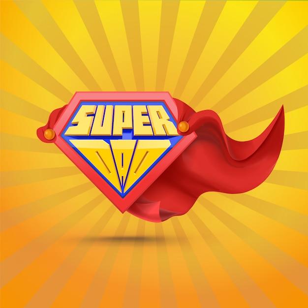Super Tata. Logo Superdad. Koncepcja Dzień Ojca. Ojciec Superbohatera. Komiczny Styl. Premium Wektorów