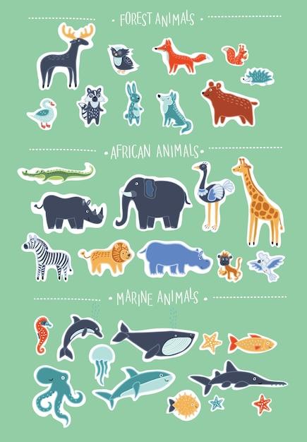 Super Zestaw Kreskówka Kreskówka Uśmiechnięte Zwierzęta Premium Wektorów