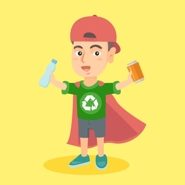 Superbohater Chłopiec Z Aluminiową Puszką I Plastikową Butelką Premium Wektorów