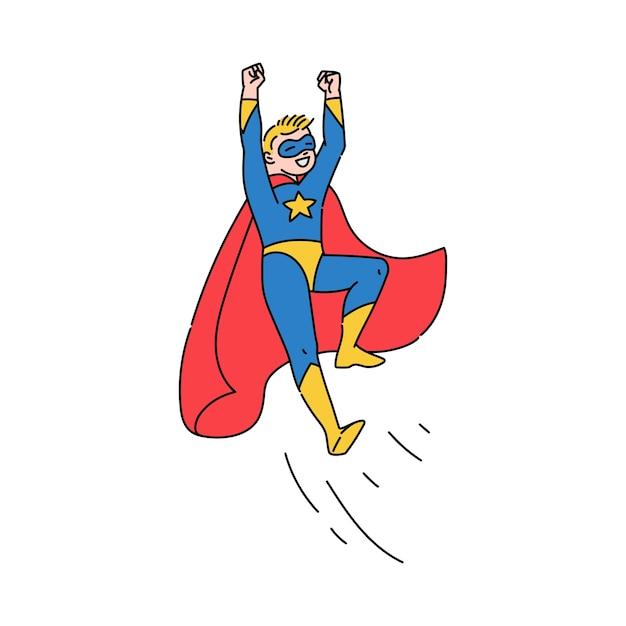 Superbohater Nastoletni Chłopak Latający, Szkic Ilustracja Kreskówka Na Białym Tle Premium Wektorów