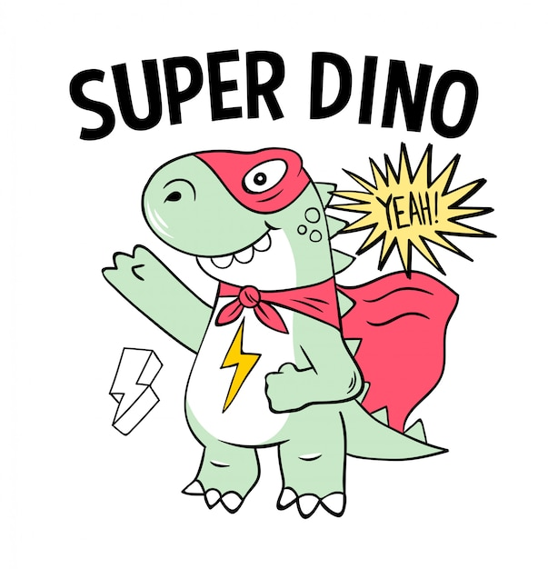 Superbohater Super Dino Jaszczurka T-rex W Masce. Modny Nadruk Nowoczesny Rysunek Kreskówka Dla Dzieci Dzieci. Modny Nadruk Na Koszulce, Koszulce, Koszulce, Kolorowaniu Znaczków I Naklejkach. Premium Wektorów
