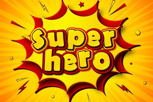 Superbohater. tło kreskówkowych komiksów Premium Wektorów