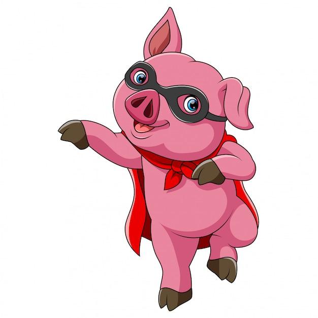 Superbohatera śliczna kreskówka świnia Premium Wektorów