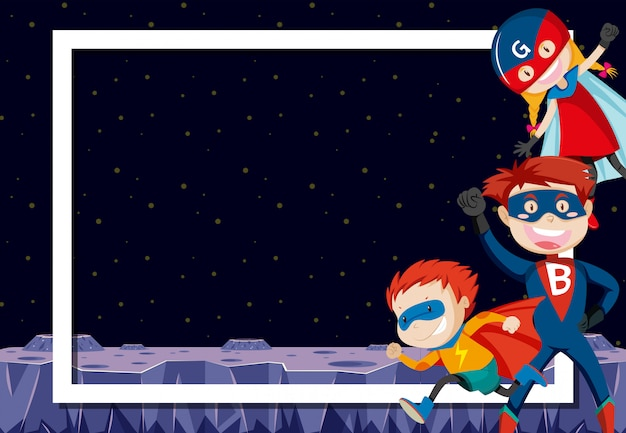 Superbohaterowie w kosmosie Darmowych Wektorów