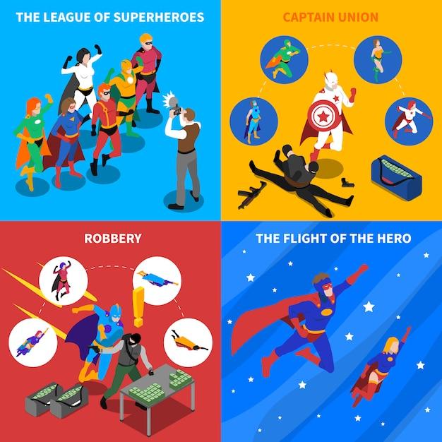 Superhero concept isometric elements set Darmowych Wektorów