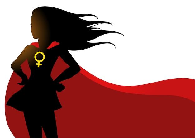 Superheroine W Czerwonej Pelerynie Z Symbolem Kobiet Premium Wektorów