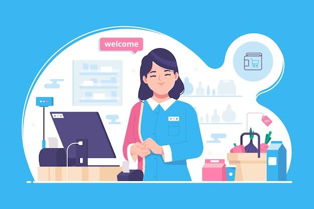 Supermarket Kasjer Ilustracja Koncepcja Tło Premium Wektorów