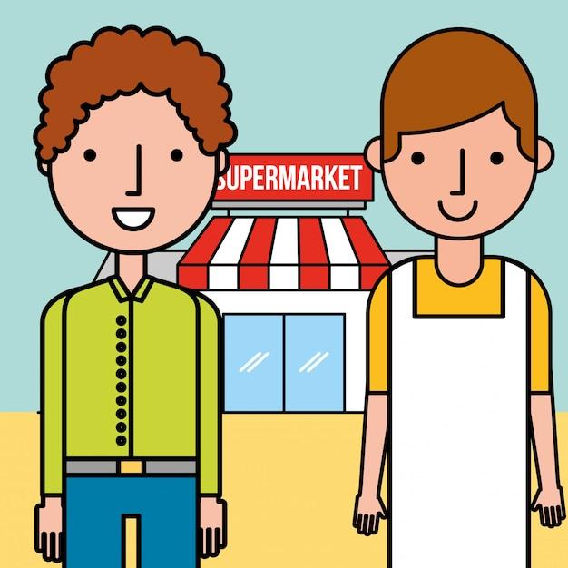 Supermarket sprzedawca i klient Darmowych Wektorów