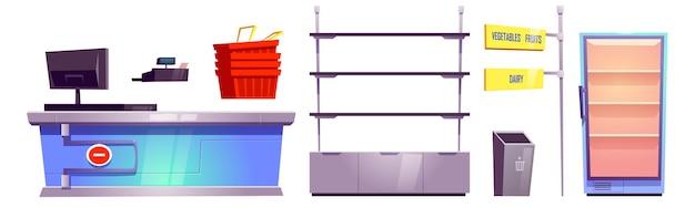 Supermarket Z Kasą, Półkami, Koszami I Lodówką Na żywność Darmowych Wektorów