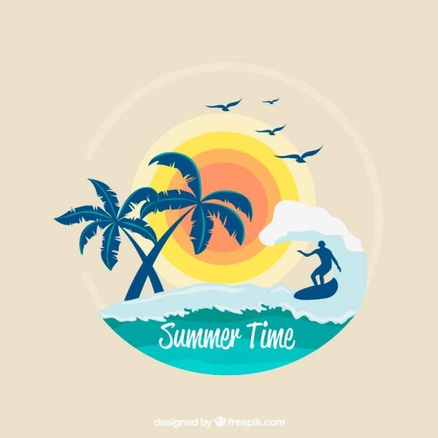 Surf Tła Z Palmy I Słońce Premium Wektorów