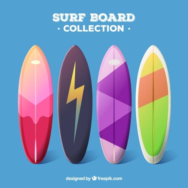 Surfboard Typy W Kolorach Darmowych Wektorów