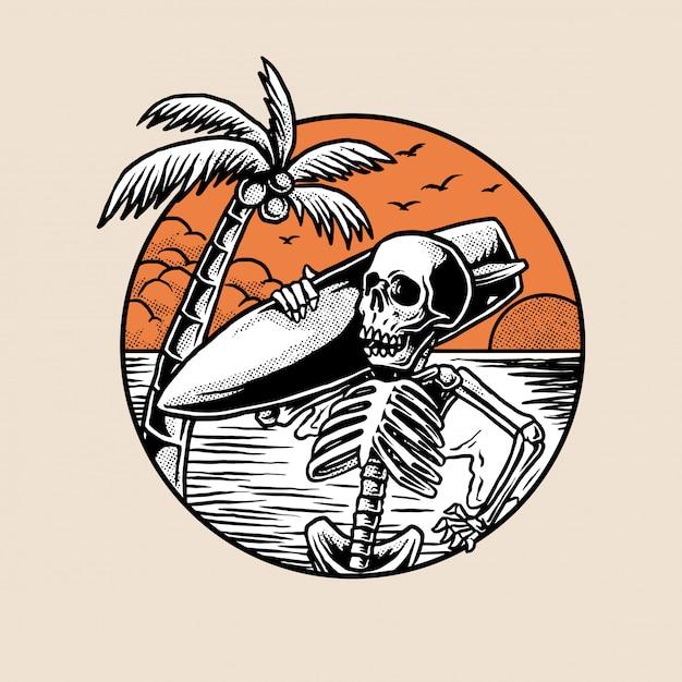Surfer skeleton poszukiwany do dobrej fali Premium Wektorów