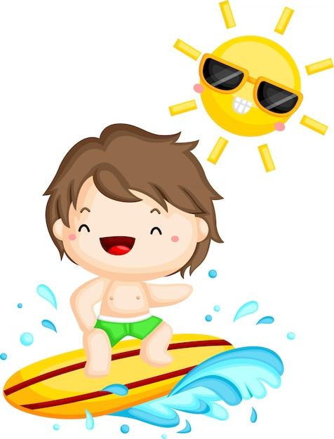 Surfer surfowanie pod słońcem Premium Wektorów