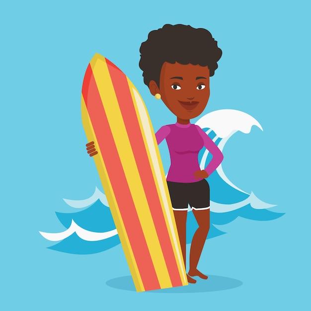 Surfer Trzymając Deskę Surfingową Ilustracji Wektorowych. Premium Wektorów