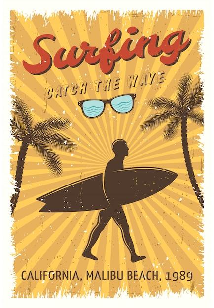 Surfing Plakat Retro Darmowych Wektorów