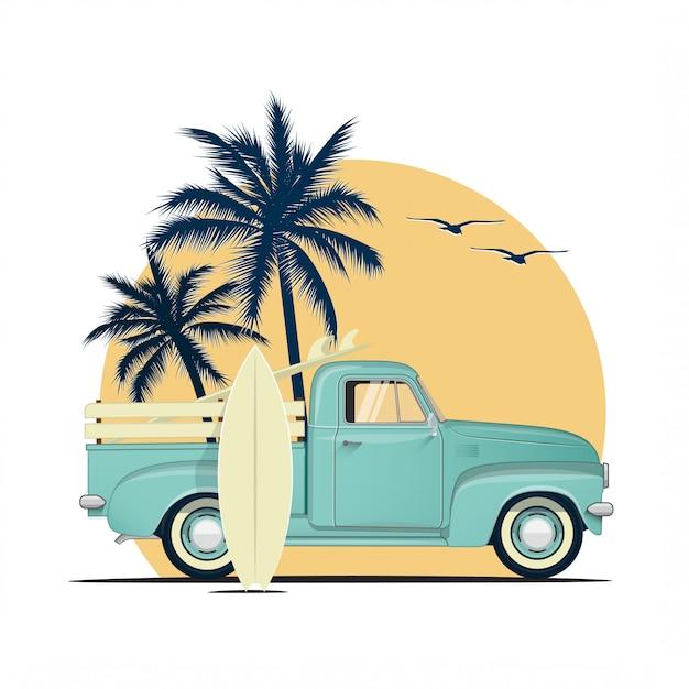 Surfing Retro Podnieść Ciężarówkę Z Deski Surfingowe Na Zachód Słońca Z Palmowymi Sylwetkami. Ilustracja Lato Tematyczne Wakacje Lub Impreza. Premium Wektorów