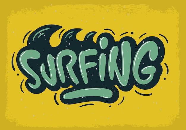 Surfing Surf Design Ręcznie Rysowane Napis Typ Logo Znak Etykieta Do Promocji Reklamy Koszulka Lub Naklejka Obraz Plakatu Premium Wektorów
