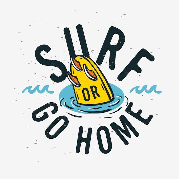 Surfing Surf Znak Etykieta Do Promocji Reklamy Koszulka Lub Naklejka Plakat Ulotka Projekt Obraz. Premium Wektorów