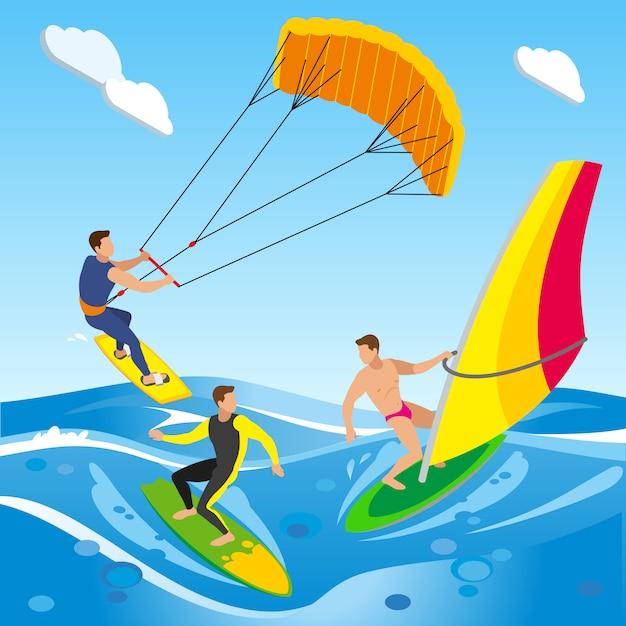 Surfingowa Kompozycja Izometryczna Z Krajobrazem Otwartego Morza Z Obrazami Chmur I Różnych Typów Desek Windsurfingowych Darmowych Wektorów