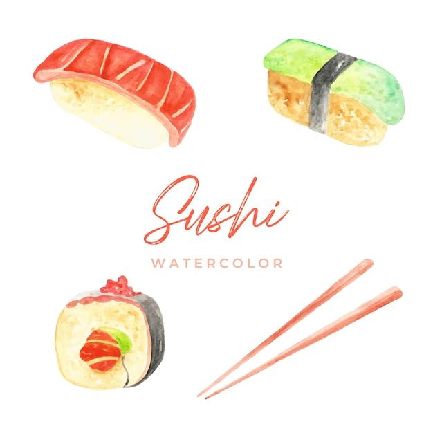 Sushi Akwarela Premium Wektorów