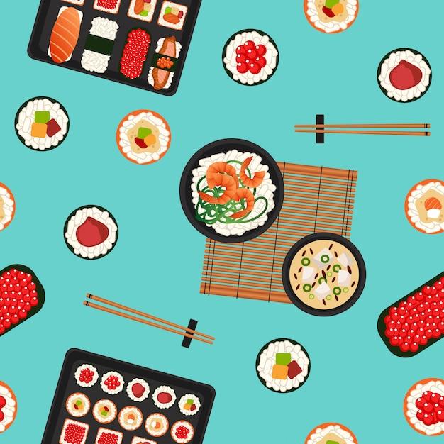 Suszi bezszwowy wzór. japońskie jedzenie. owoce morza. Premium Wektorów