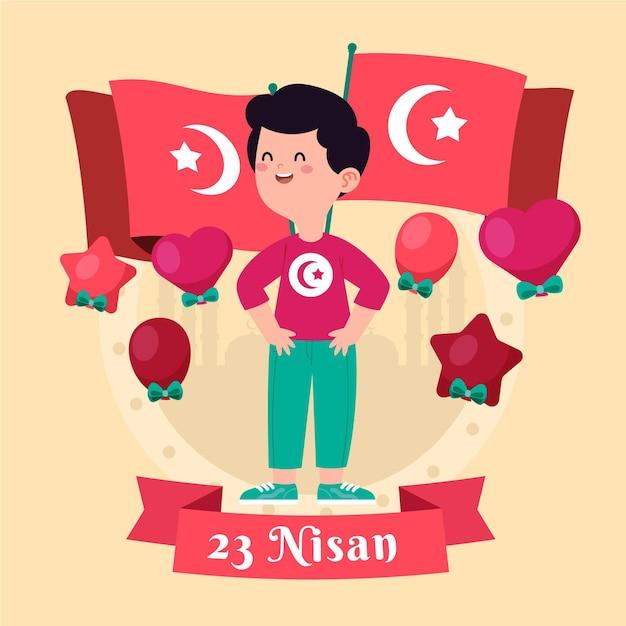 Suwerenność Narodowa I Ilustracja Dzień Dziecka Z Chłopcem I Flagami Darmowych Wektorów