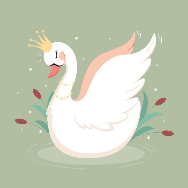Swan Princess Elegancki Design Darmowych Wektorów