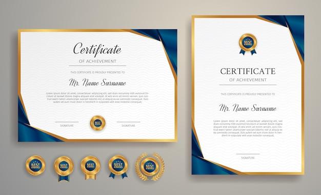 Świadectwo Uznania W Kolorze Niebieskim I Złotym Z Szablonem Obramowania Premium Wektorów