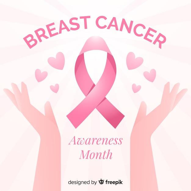 Świadomość raka piersi dzięki płaskiej wstążce Darmowych Wektorów