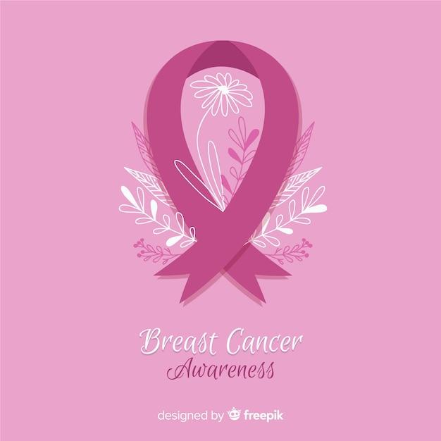 Świadomość raka piersi w stylu płaskiej różowej wstążki Darmowych Wektorów