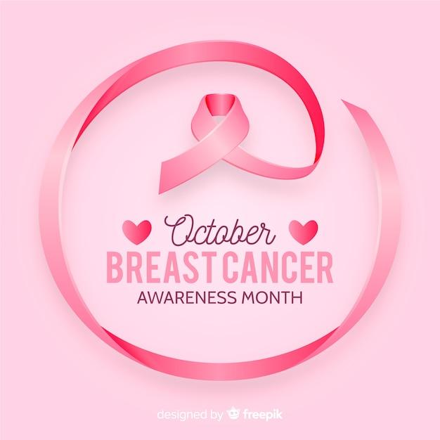 Świadomość raka piersi z realistyczną wstążką Darmowych Wektorów