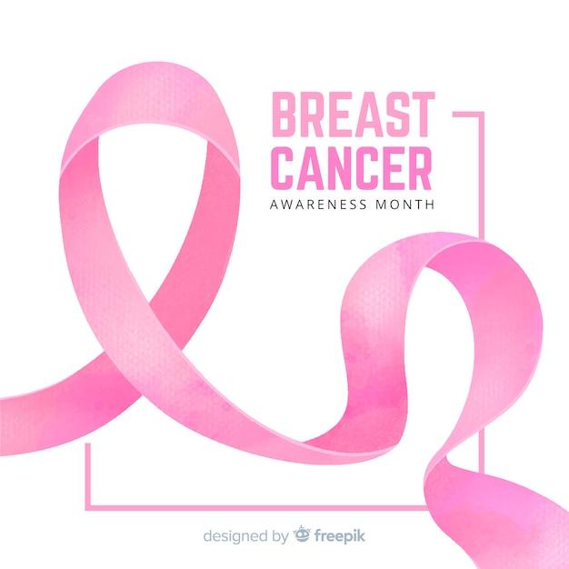 Świadomość raka piersi z wstążką akwarela Darmowych Wektorów