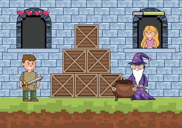 Świat gier zręcznościowych i scena pikseli Darmowych Wektorów