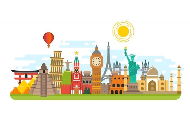 Świat sławny punkt orientacyjny podróży Premium Wektorów