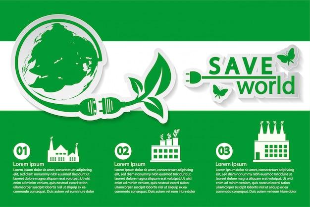 Świat z pomysłami na koncepcje ekologiczne Premium Wektorów