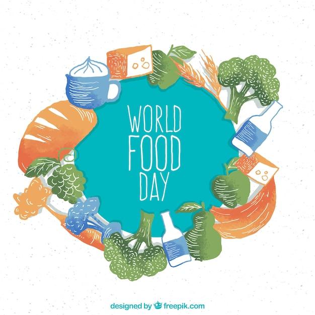 Świat żywności Dzień Tła W Akwarium Darmowych Wektorów