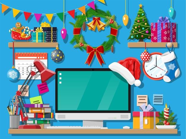 Świąteczna Dekoracja Biurka Biurowego Premium Wektorów