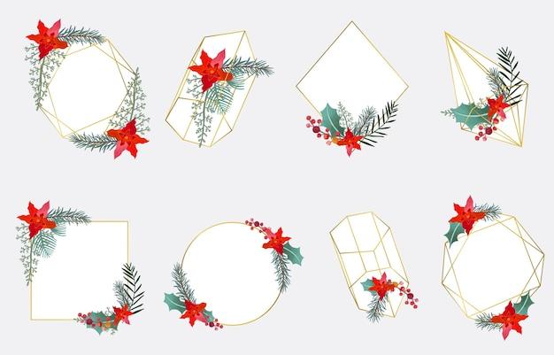 Świąteczna Kolekcja Ramka Z Geometrycznym, Wieńcem, Kwiatem Premium Wektorów