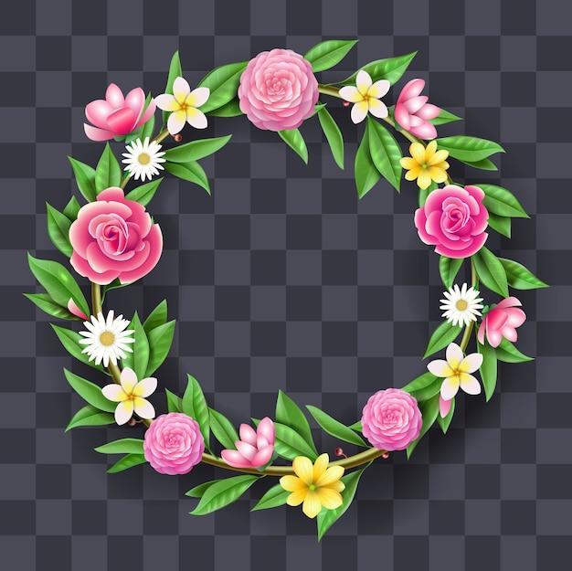Świąteczna Okrągła Girlanda Z Kwiatów, Wieniec. Wystrój Artystyczny I Florystyka Premium Wektorów