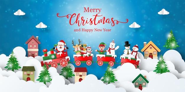 Świąteczna Pocztówka Transparent Z Pociągiem Bożonarodzeniowym Z Mikołajem I Przyjaciółmi W Mieście Premium Wektorów