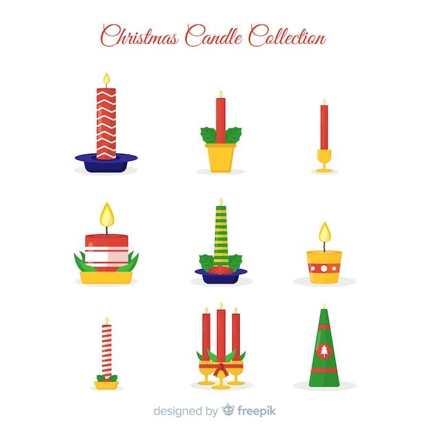 Świąteczna świeca Kolekcji Darmowych Wektorów