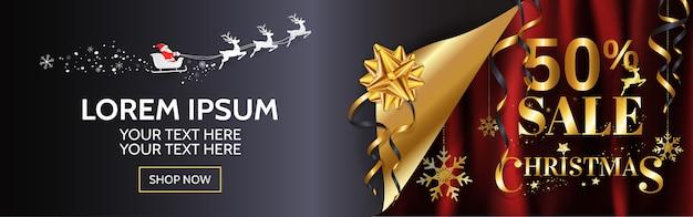 Świąteczna Wyprzedaż 50% Szeroki Projekt Banera Na Www, Plakat W Złotym I Czerwonym Tle Z Miejsca Na Kopię. Premium Wektorów