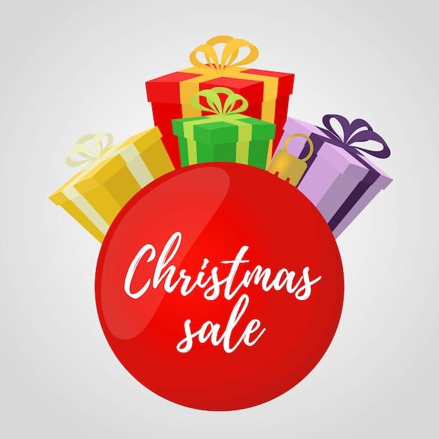 Świąteczna Wyprzedaż, Czerwona Kula Na Plakat Reklamowy, Baner Premium Wektorów